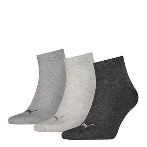 [- 10 % Prime Student] 3er Pack PUMA Unisex Plain Quarter Socken (grautöne) - mehrfach bestellbar