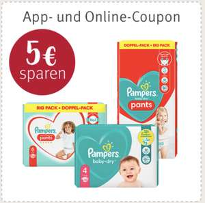 [Rossmann] 5€ Coupon auf Pampers Baby-Dry Windeln oder Pants oder Premium Protection Windeln