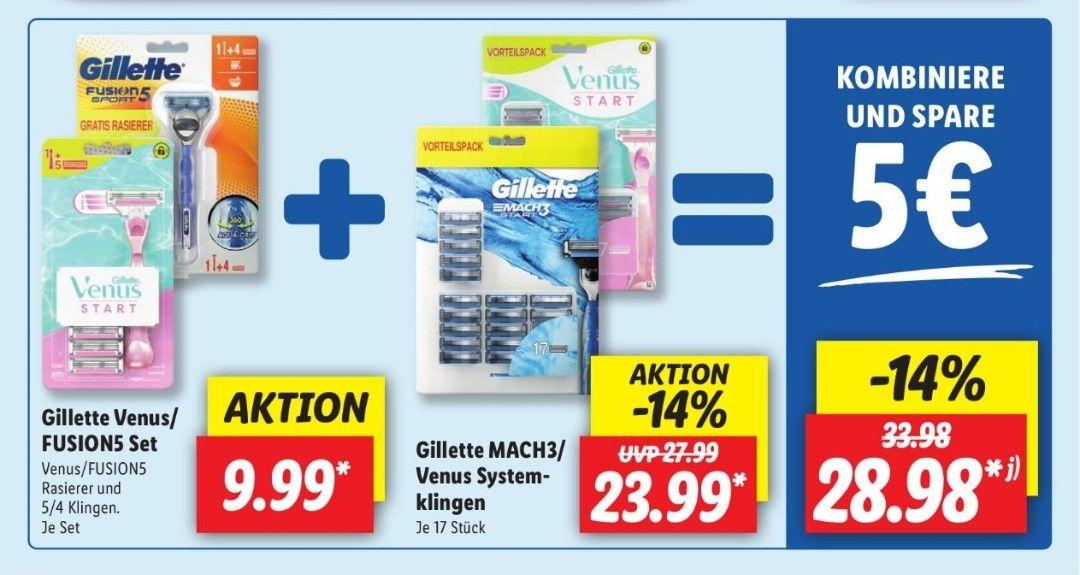 Lidl offline Gillette Mach3 Klingen (17x) + Fusion Handstück mit 4 Klingen