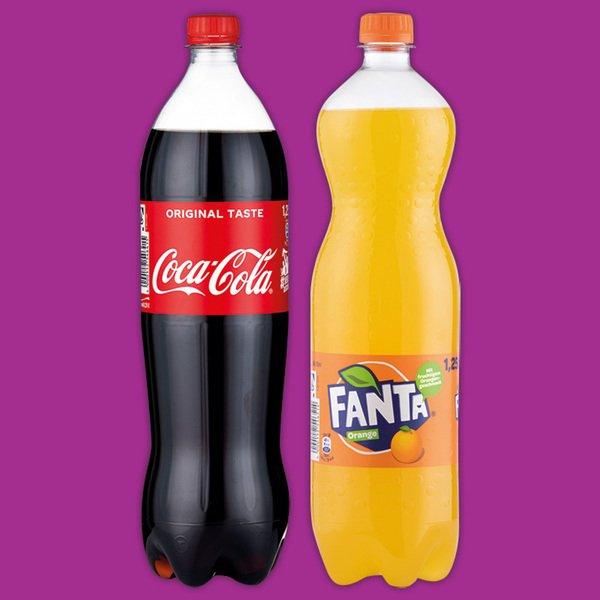 Penny:je 1,25 Liter Coca-Cola, Fanta, Sprite, Mezzo Mix in der Einwegpfandflasche, Literpreis 55 Cent