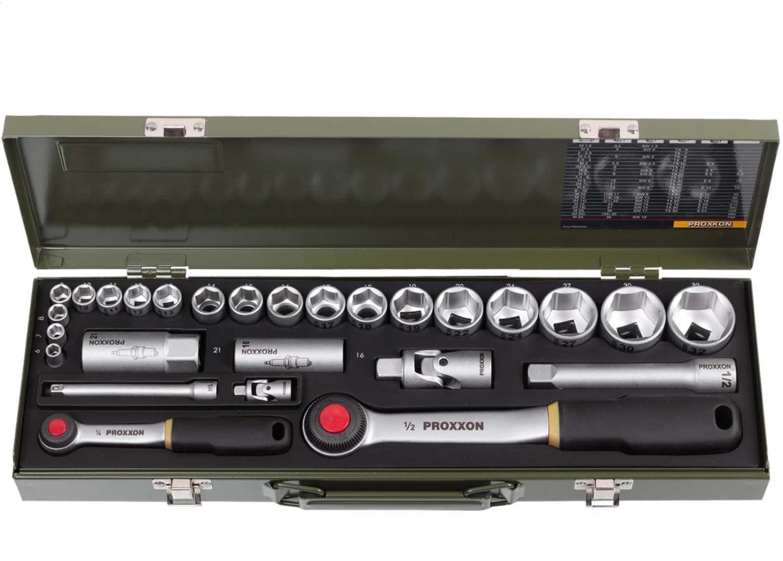 "Proxxon Industrial Steckschlüsselsatz 27teilig 23020 metrisch 1/4"" + 1/2"" 27-tlg. für 44,39€ o. Steckschlüsselsatz metrisch 1/2"" für 43,84€"