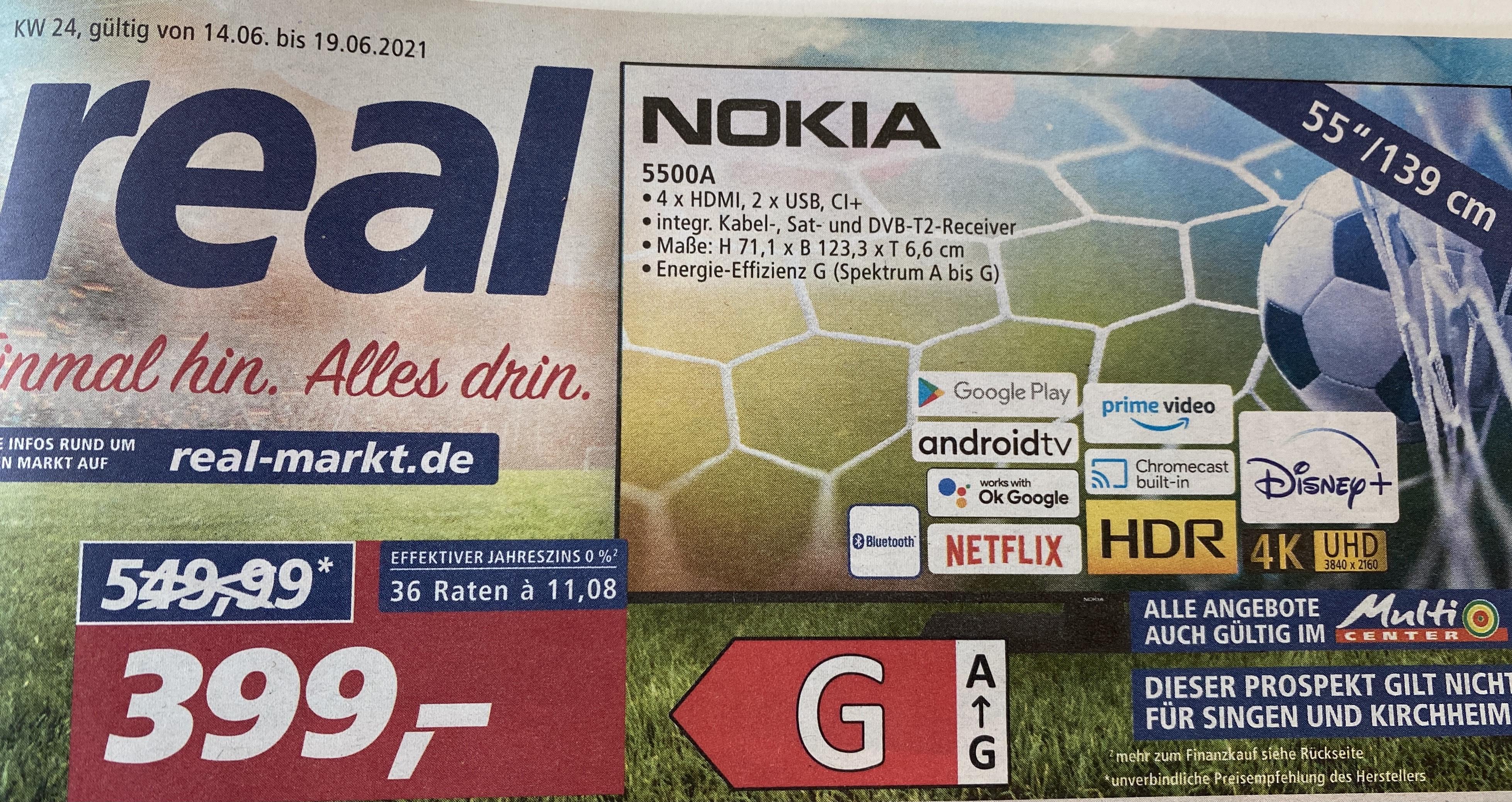 "Nokia TV/Fernseher 55"" 5500A LOKAL REAL"