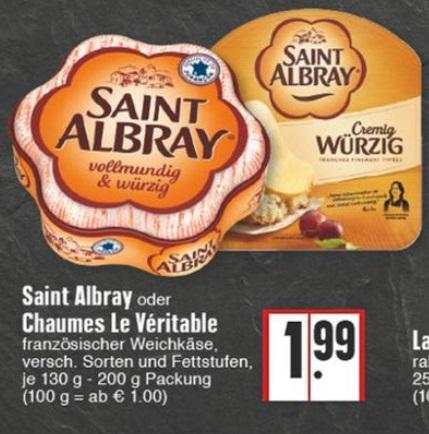 [EDEKA] Saint Albray 180g + 2x 0,70€ Cashback