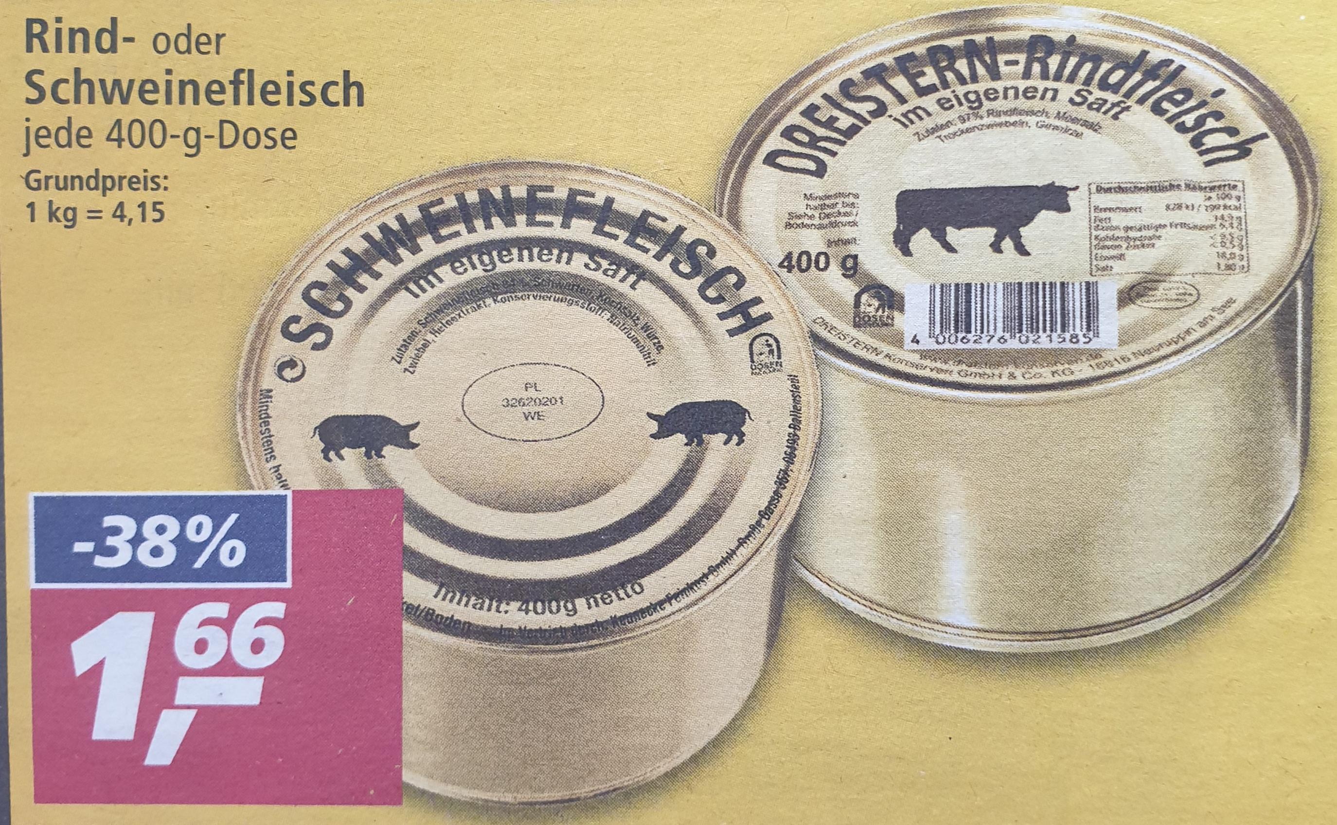 [ Real ] Rind -oder Schweinefleisch der Marke Dreistern je 400g 1,66€