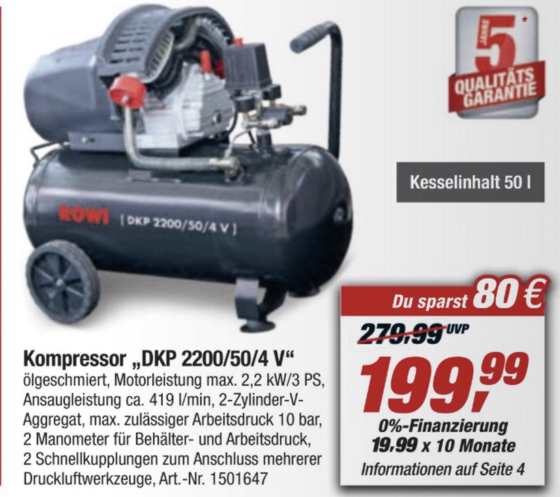 [TOOM offline]ROWI DKP 2200/50/4V Kompressor