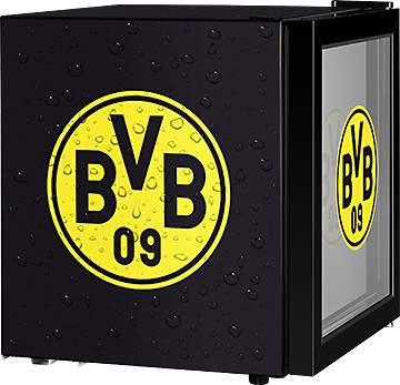 ECG ERM 10510 BVB Getränkekühlschrank (F, schwarz/gelb, Nutzinhalt 48 l, Höhe 51 cm, Breite 43 cm, Temperaturreglung, Borussia Dortmund)