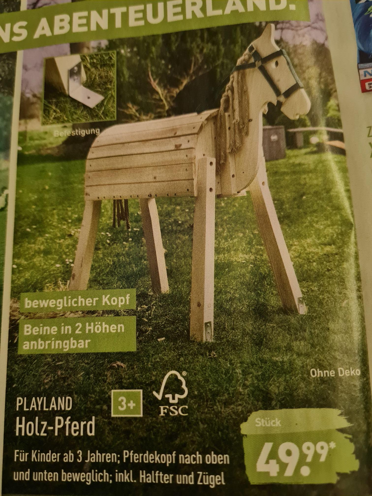 Holz-Spielpferd für 49,99€ bei Aldi Nord