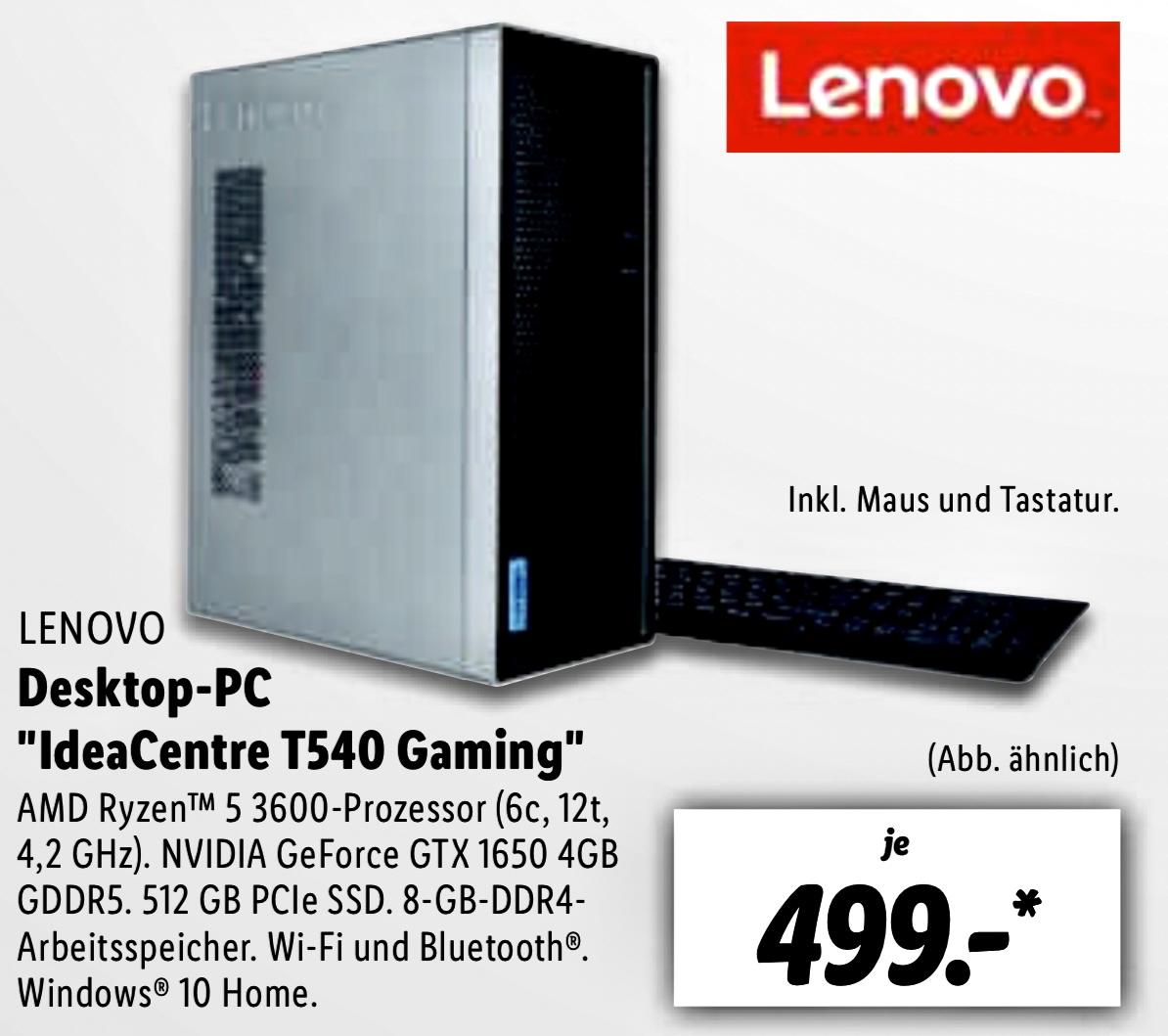 Lokal Lidl Groß-Gerau/Burghausen: Lenovo IdeaCentre T540 Gaming AMD Ryzen 5 3600, 8GB DIMM DDR4, 512GB SSD, NVIDIA GeForce GTX 1650 für 494€