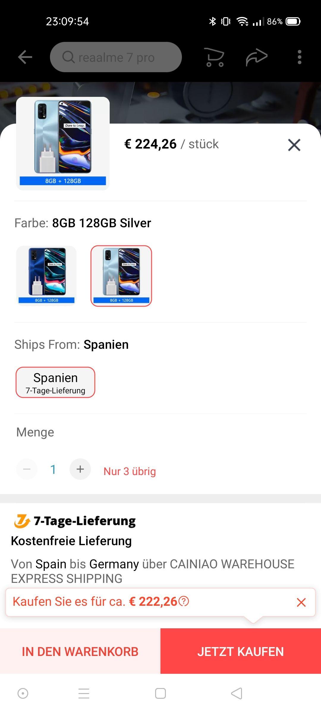 Realme 7 Pro 8/128 AMOLED Stereo-Lautsprecher, 65W laden, 64MP Sony IMX682, SD720G