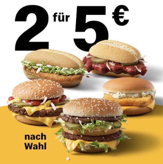 2x Klassiker nach Wahl für 5€ (z.B. McRib, Big Mac, Hamburger Royal Käse, etc.) [McDonalds]