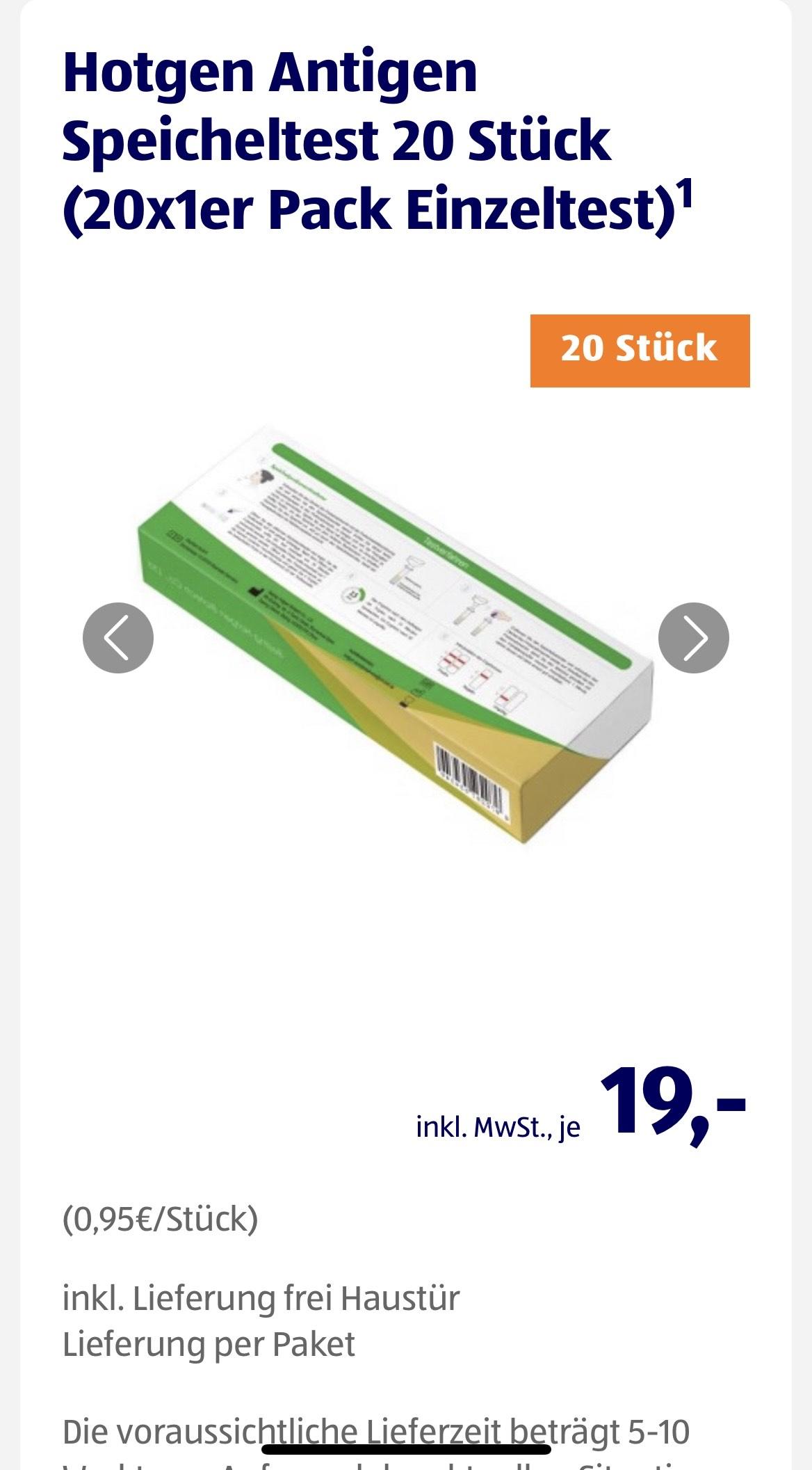 Hotgen Antigen Speicheltest / Spucktest 20 Stück (0,95 € / St.)