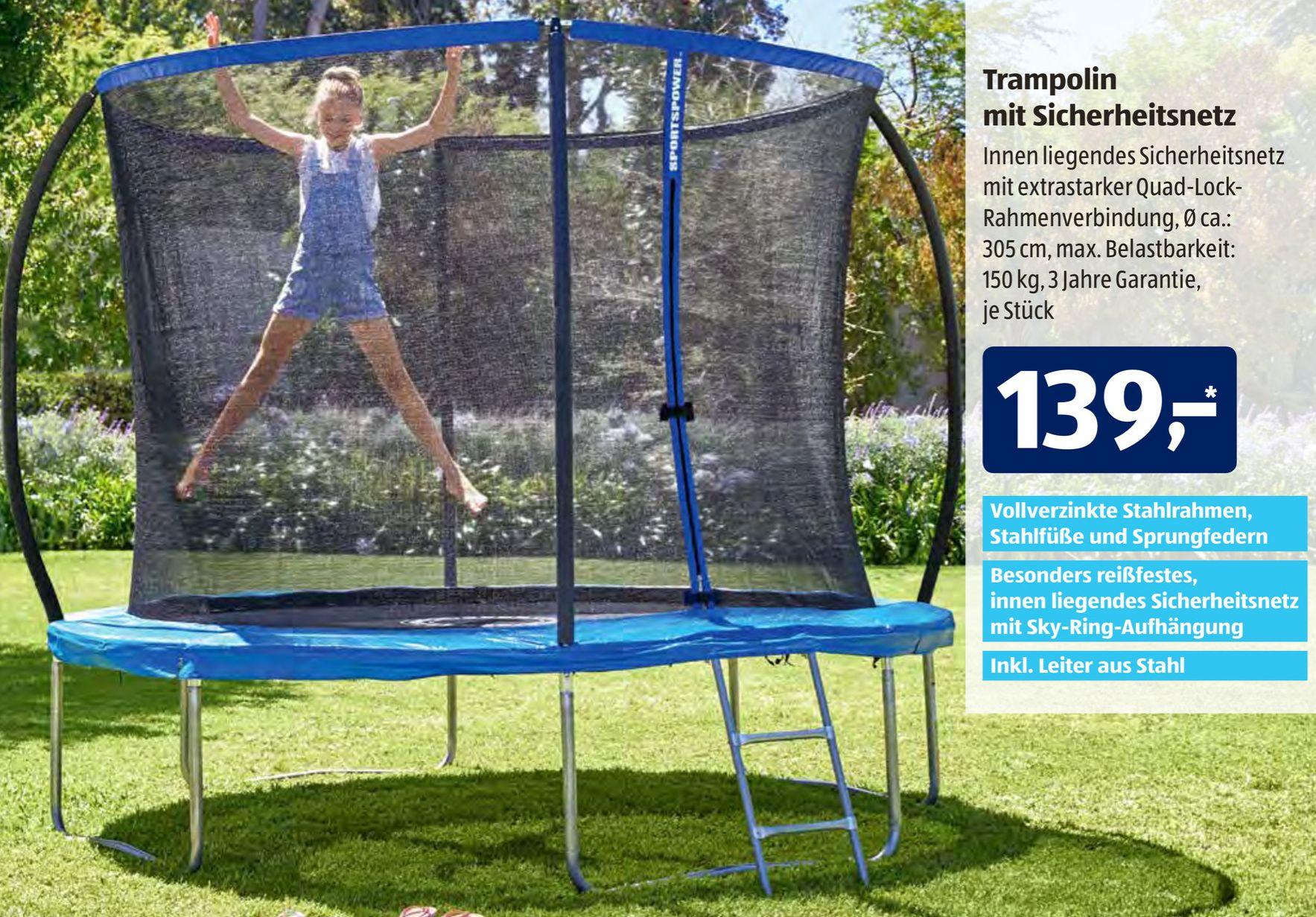 Sportspower Trampolin mit Sicherheitsnetz inkl. Leiter, max. 150 kg; Ø ~305, 3J Garantie [Filiale]
