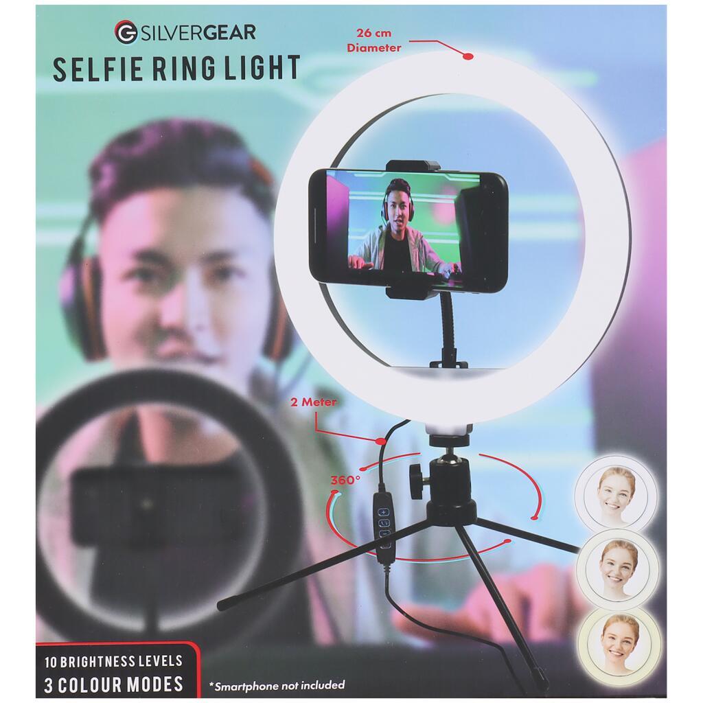 LED Ringlicht mit Stativ fürs Smartphone Silvergear Selfie Ring Light