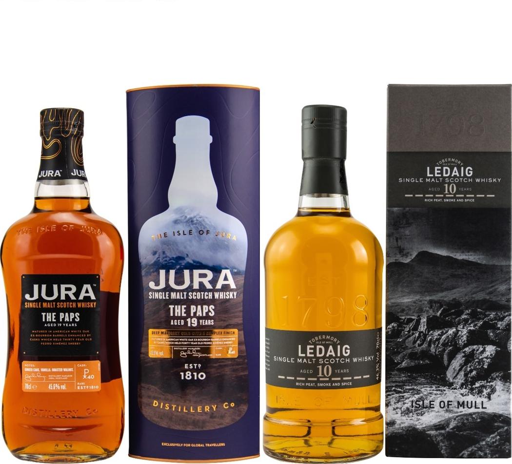 Whisky-Übersicht #94: z.B. Jura 19 Jahre The Paps Single Malt Scotch Whisky für 63,50€, Ledaig 10 Jahre Single Malt für 35,02€ inkl. Versand