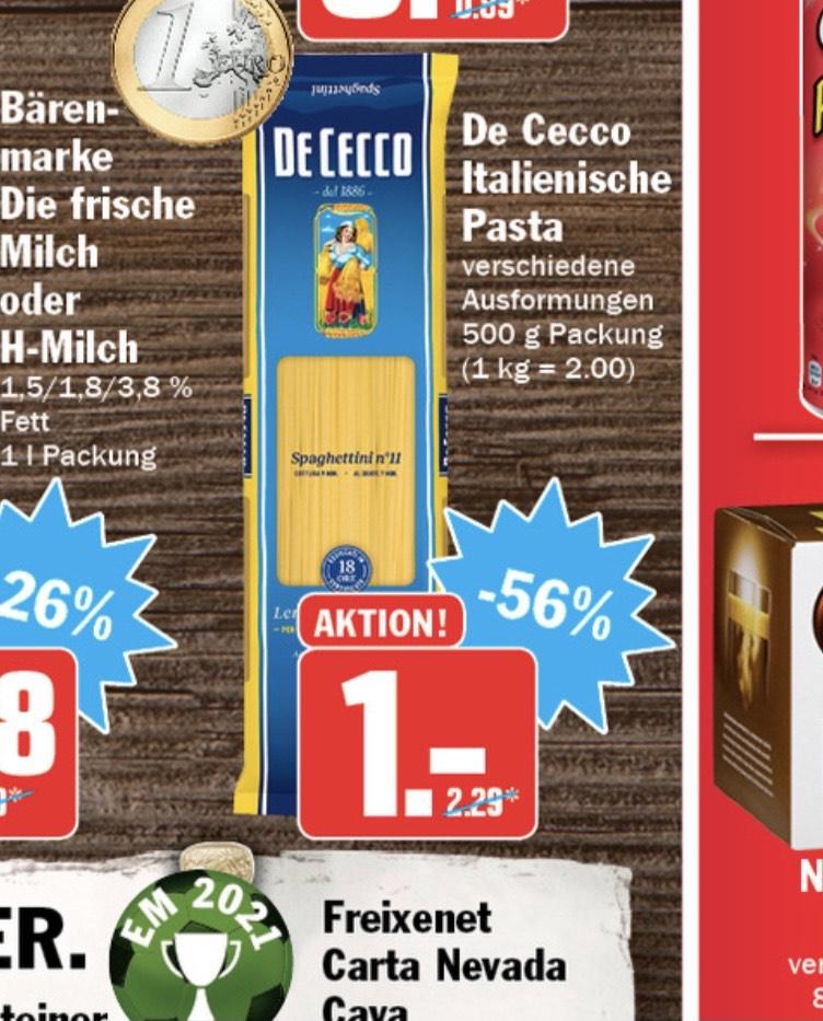 De Cecco Pasta 1 Euro verschiedene Sorten Nudeln - Hit Märkte