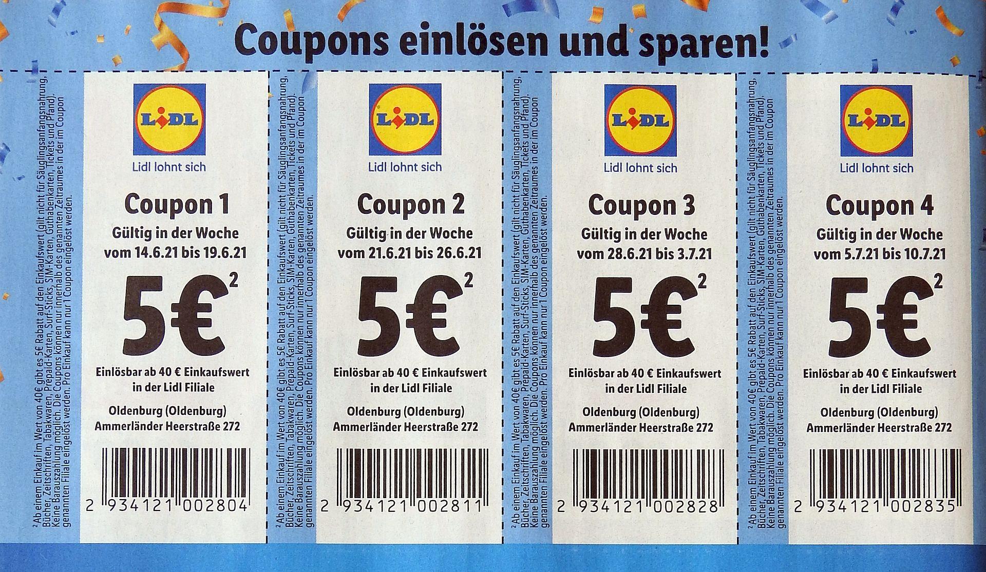 [Lokal OL] Lidl 5 € Rabatt (40 € MEW)