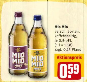 [Rewe Berlin, Brandenburg, MV] Mio Mate 0,5l Flasche 0,59€ - Preis ohne Pfand