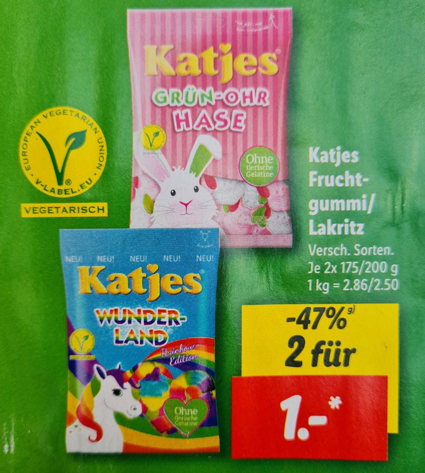 2 x Katjes Fruchtgummi UND ALLES unten in der Werbung für 1, 2, 3 oder 4 Euro ab 21-26.06 Lidl