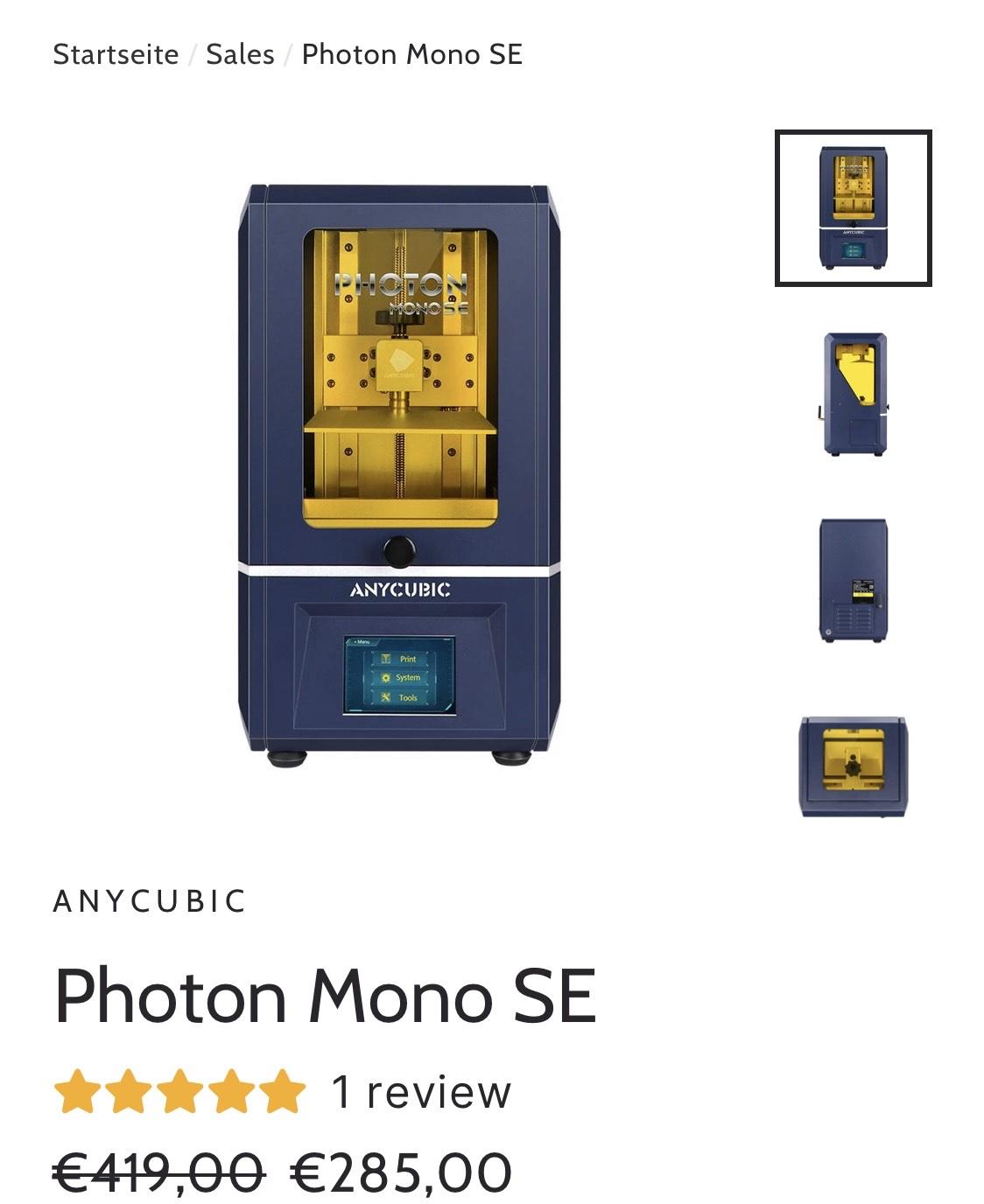 Angebote auf 3d Drucken von Anycubic z.b.Anycubic Photon Mono SE für aktuell 2853d