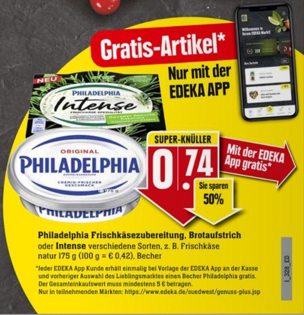 GRATIS in der Edeka Südwest App ab 5 Euro Einkauf, Philadelphia Frischkäse Brotaufstrich oder Intense 175 g ab 14.06