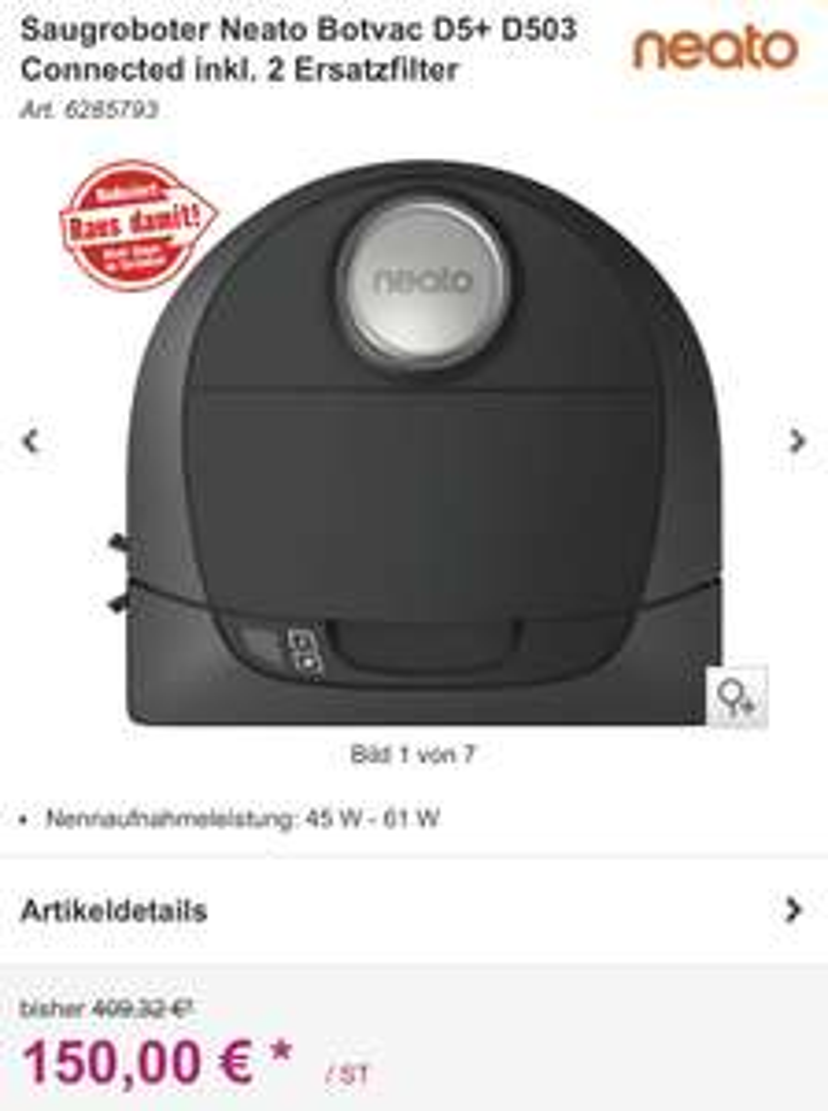 Saugroboter Neato Botvac D5+ D503 Connected inkl. 2 Ersatzfilter