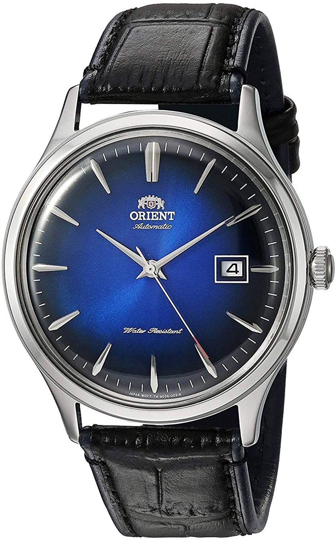 Orient Bambino FAC08004DO Automatikuhr (42 mm, Edelstahlgehäuse, Lederarmband, Datumsanzeige) Blau