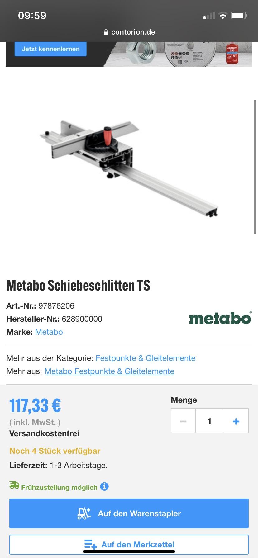 Metabo Schiebeschlitten TS