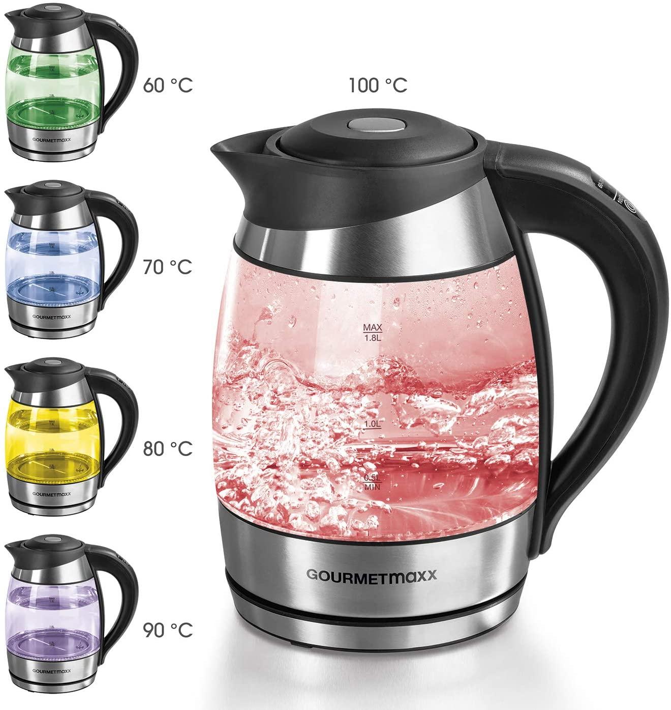 [B-Ware] GOURMETmaxx Glas-Wasserkocher mit Temperaturwahl (60/70/80/90/100°C, 1.7l, LED-Beleuchtung, 360°-Sockel, Abschaltautomatik)