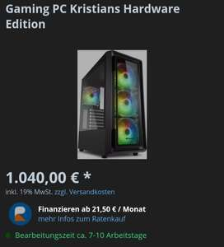 1040€ Fertig Gaming PC (Ryzen 5 3600, RTX 2060, 16GB DDR4)