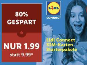 Nur am 18.06. mit Lidl Plus: Lidl Connect Starterpaket inkl. 10€ Startguthaben für 1,99€