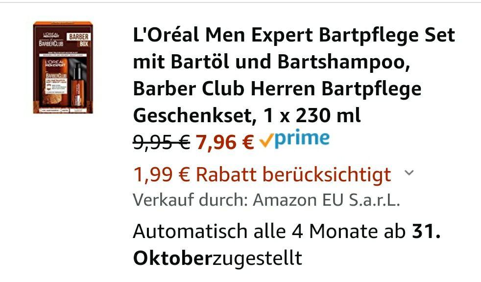 [Amazon Prime Sparabo] L'Oreal Barberbox Bartöl 3 in 1 Bartshampoo