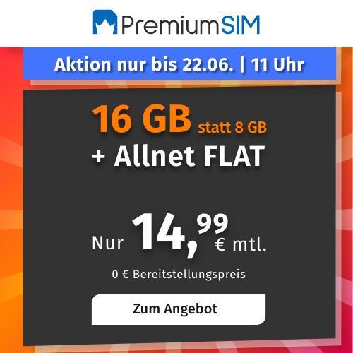 Drillisch KW24 Angebote: 16GB LTE PremiumSIM Tarif mtl. 14,99€ I 10GB LTE Handyvertrag.de Tarif mtl. 9,99€ (mtl. kündbar) [Telefonica]