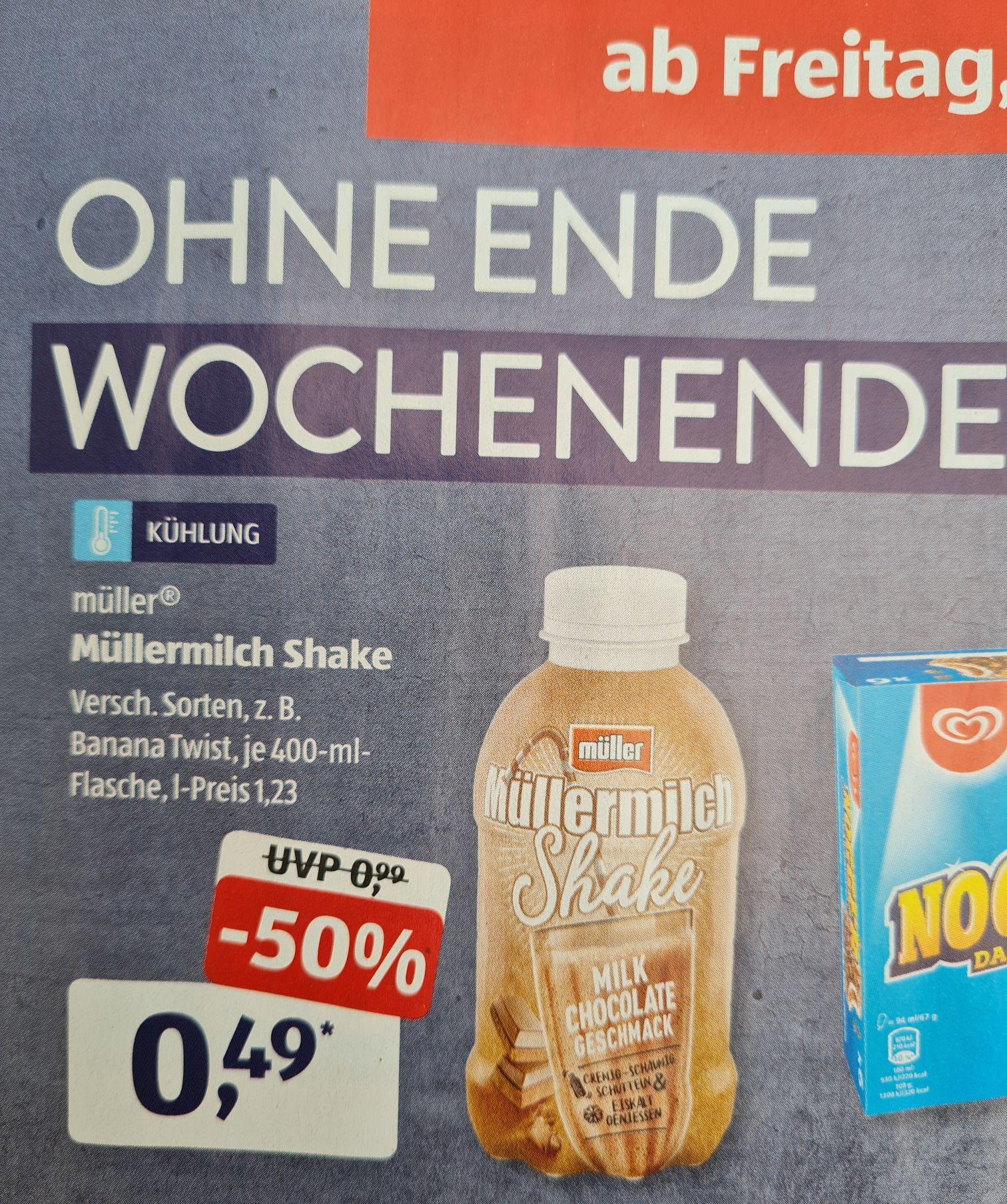 Müllermilch Shake 400 ml versch. Sorten UND Joghurt mit der Ecke bis 150 g versch. Sorten für 0,26€ statt 0,59€ ab 25.06 Aldi Süd