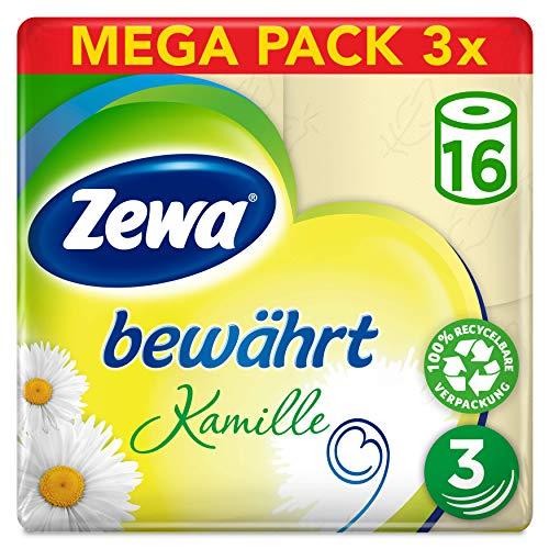 Zewa Toilettenpapier trocken bewährt Kamille, 3-lagig, 48 Rollen, Gutschein und Spar-Abo möglich, 8,36€