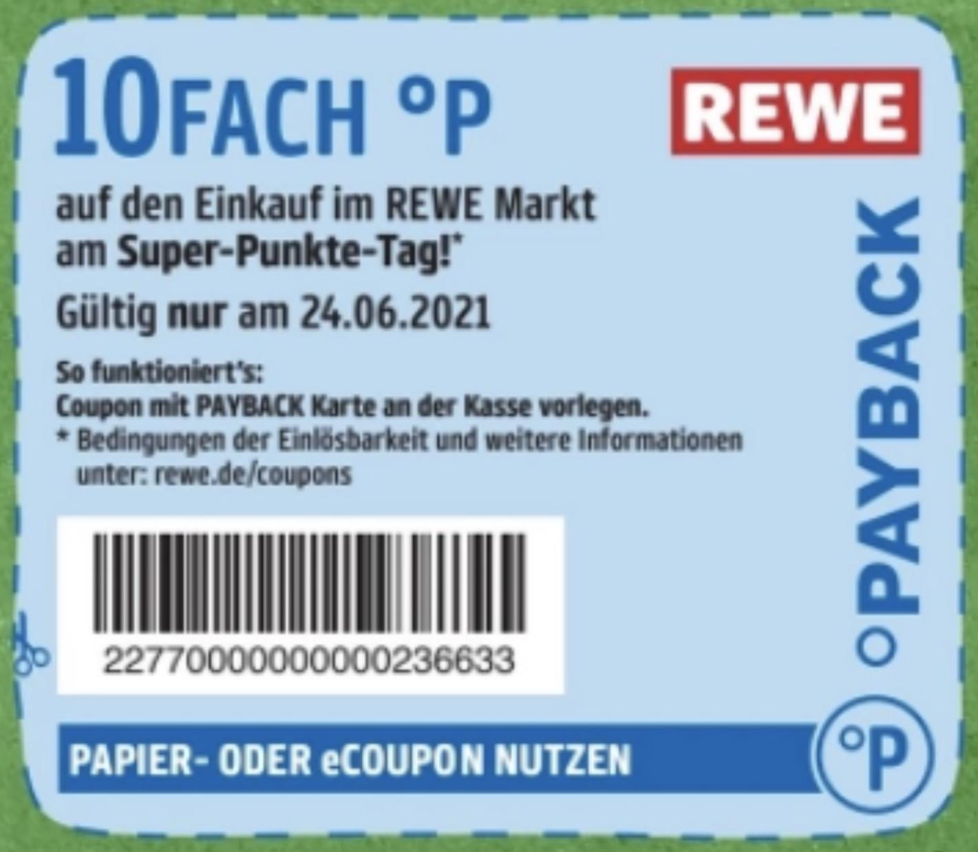 REWE Super-Punkte-Tag: 10-fach Payback Punkte auf den gesamten Einkauf am 24.06.