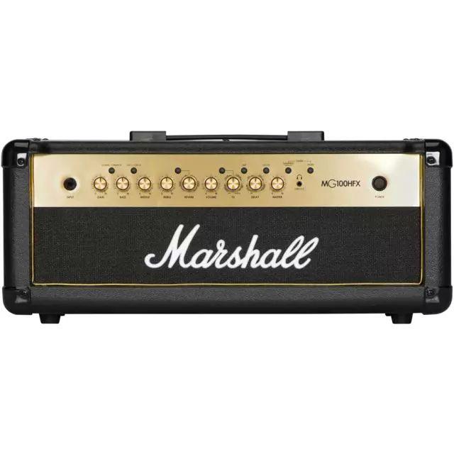 Marshall MG100HFX Black & Gold, 100 Watt Gitarren Topteil mit vier Kanälen und integrierten Effekten, inklusive Fußschalter [Musicstore]