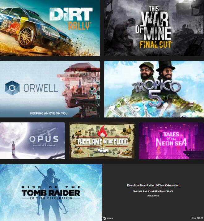 1€ DiRT Rally & This War of Mine | 7 Spiele für 4.99€ | Rise of the Tomb Raider + 7 Spiele für 9.99€