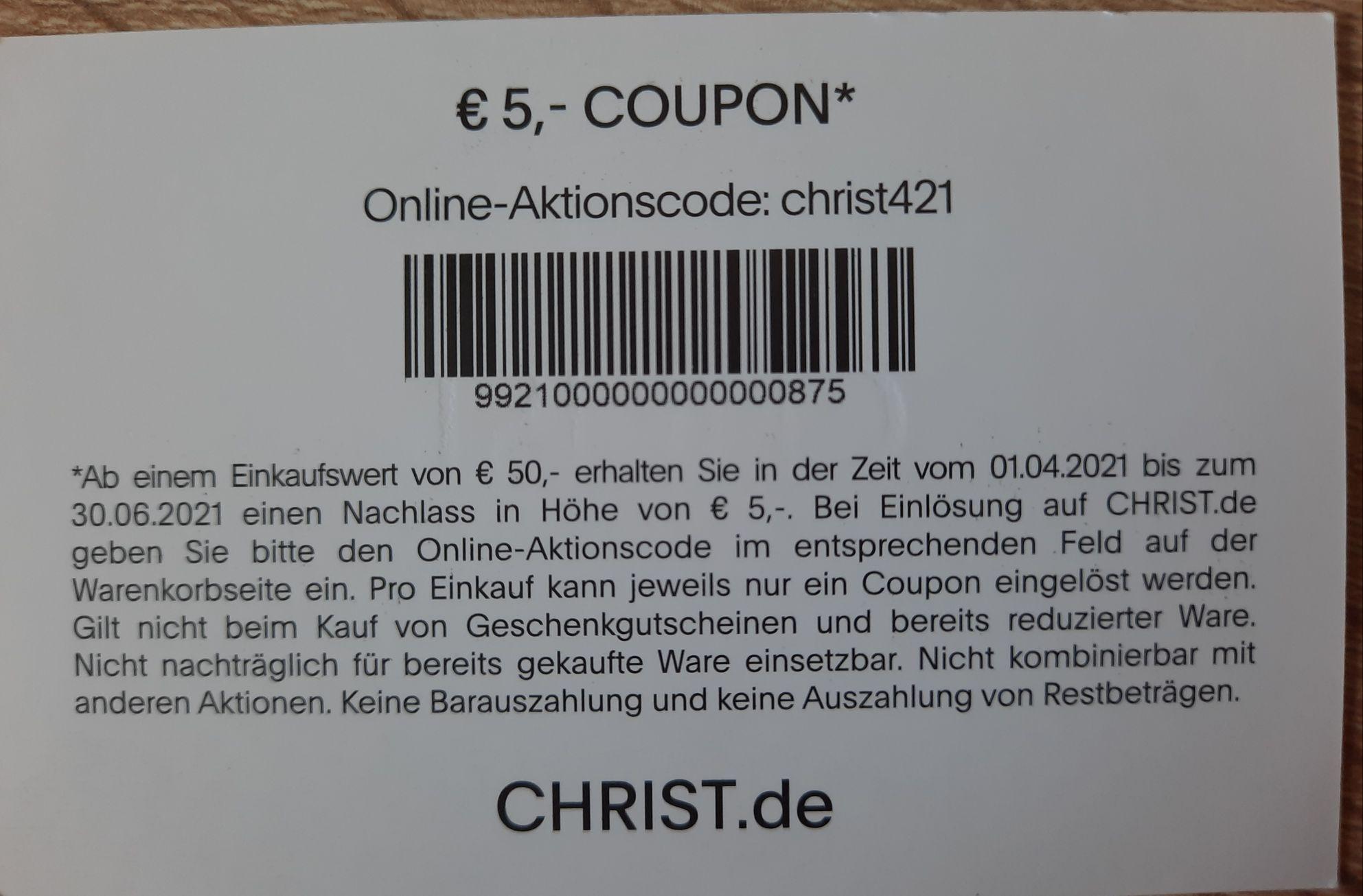 5€ Christ Gutschein MBW 50€