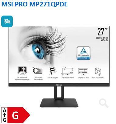 Computeruniverse MSI Monitor MP271QPDE ideal für das HomeOffice