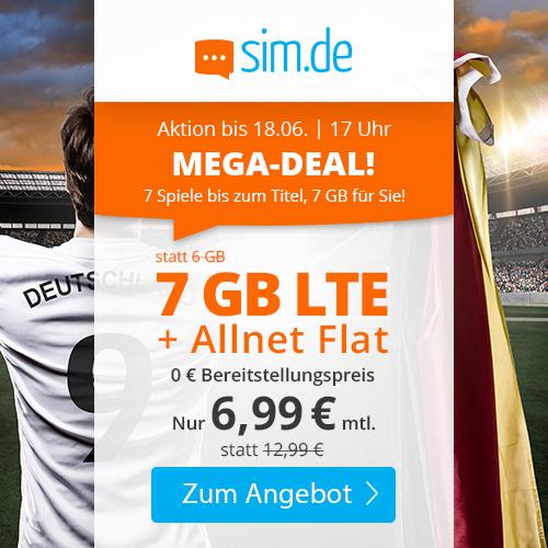 7GB LTE Tarif von sim.de für mtl. 6,99€ (Allnet- & SMS-Flat, VoLTE, WLAN Call, 3 Monate Kündigungsfrist) im Telefonica-Netz