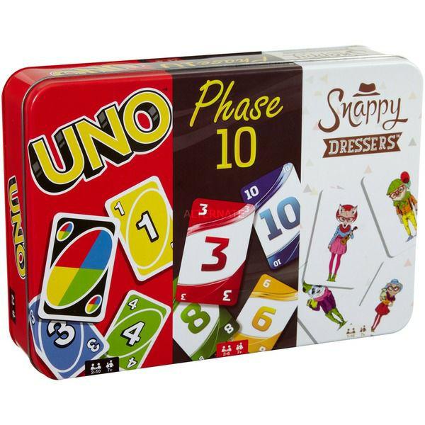 Mattel Games Kartenspielklassiker in Metalldose (UNO, Phase 10, Snappy Dressers) ab 7 Jahren [Alternate]