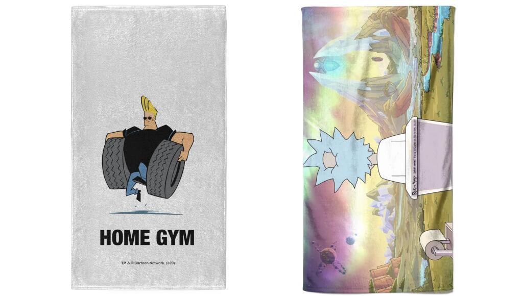 2 Handtücher mit Motiven verschiedener Franchises (Sonic, Jaws, Rick & Morty, Johny Bravo oder Zurück in die Zukunft)