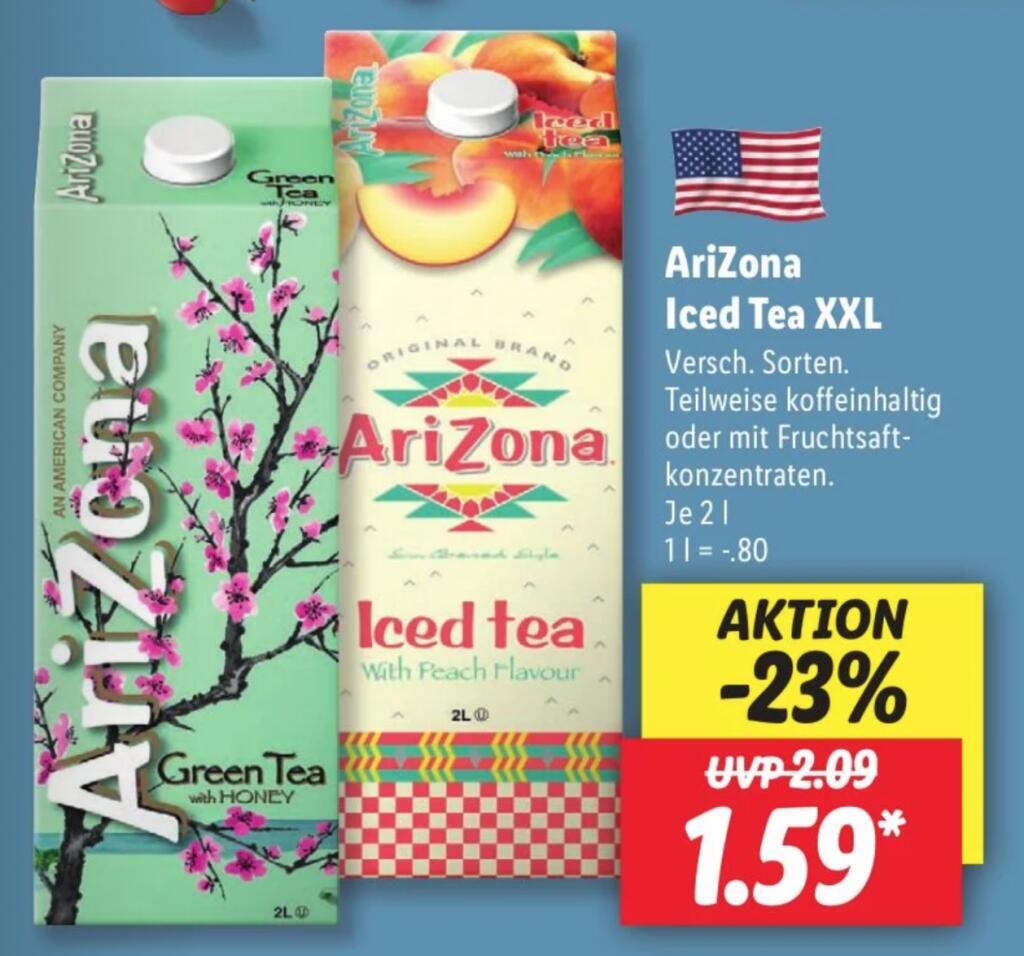 [Lidl] AriZona Iced Tea XXL 2l verschiedene Sorten für 1,59€ (0,80€/Liter) ab 25.06.2021