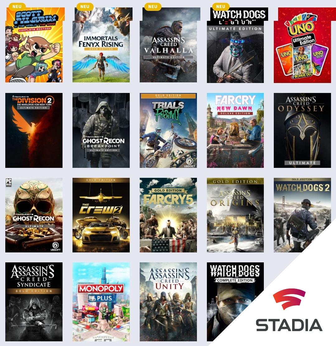 [Stadia und Stadia Pro] Ubisoft Sale u.a. Watch Dogs: Legion Gold Edition, Assassin's Creed Valhalla Gold Edition