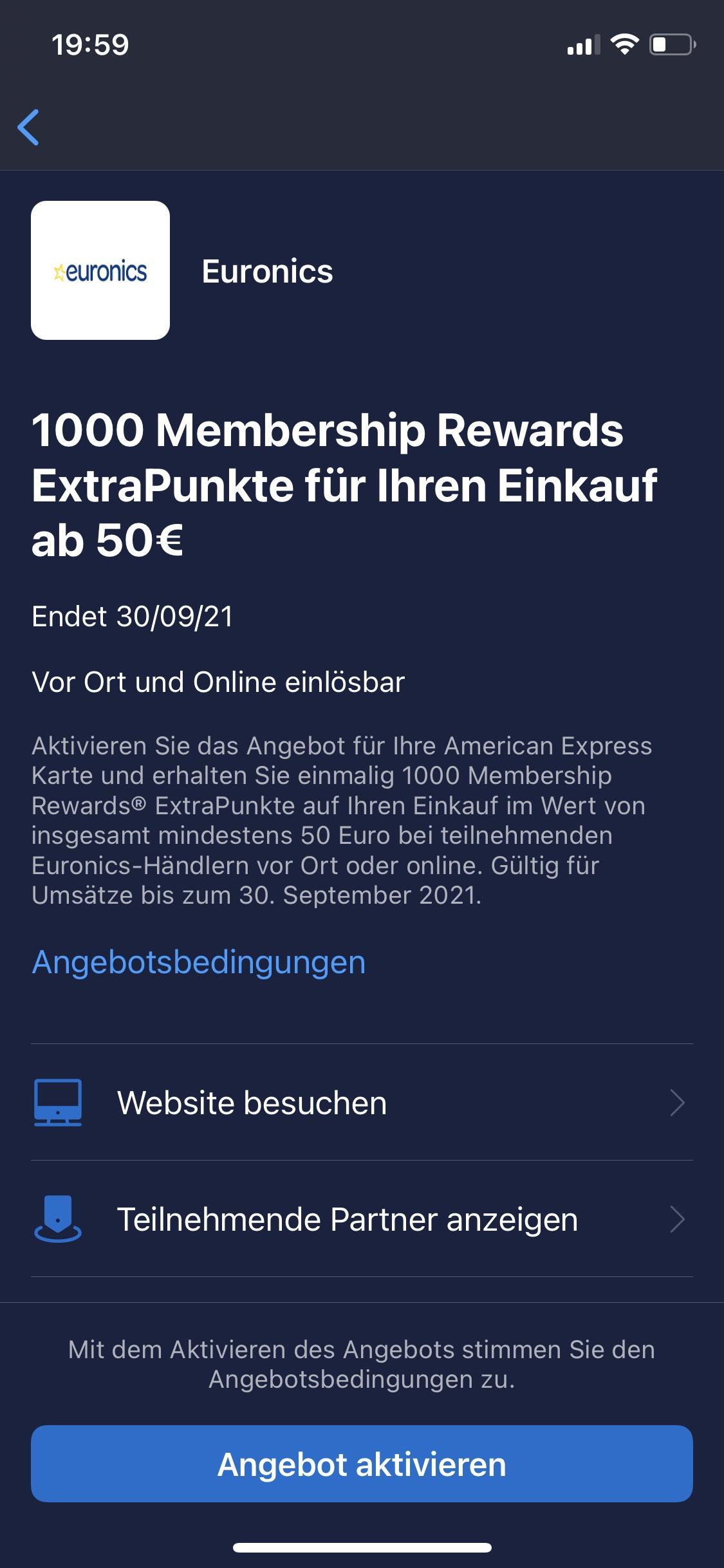 Amex Offer: 1000 zusätzliche MR-Punkte ab einem Einkauf ab 50,-€ bei Euronics (on- und offline)