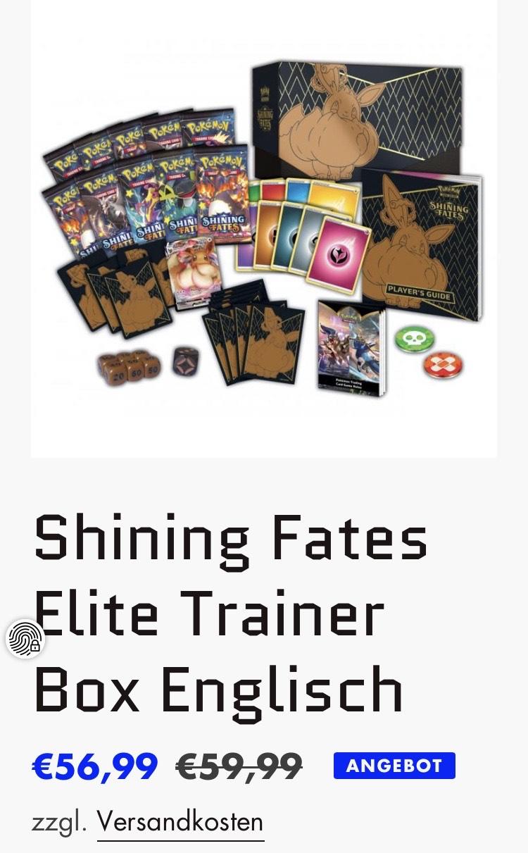 Pokémon Shining Fates Elite Trainer Box ( bei Kauf von 2 Boxen, 56,99€ pro Box)