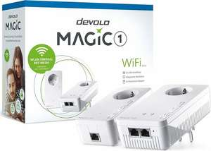 devolo Magic 1 WiFi Starter Kit (Powerline-WiFi-Adapter mit 2x 100MBit/s LAN & Verbindungsadapter, bis 1200MBit/s übers Stromnetz)