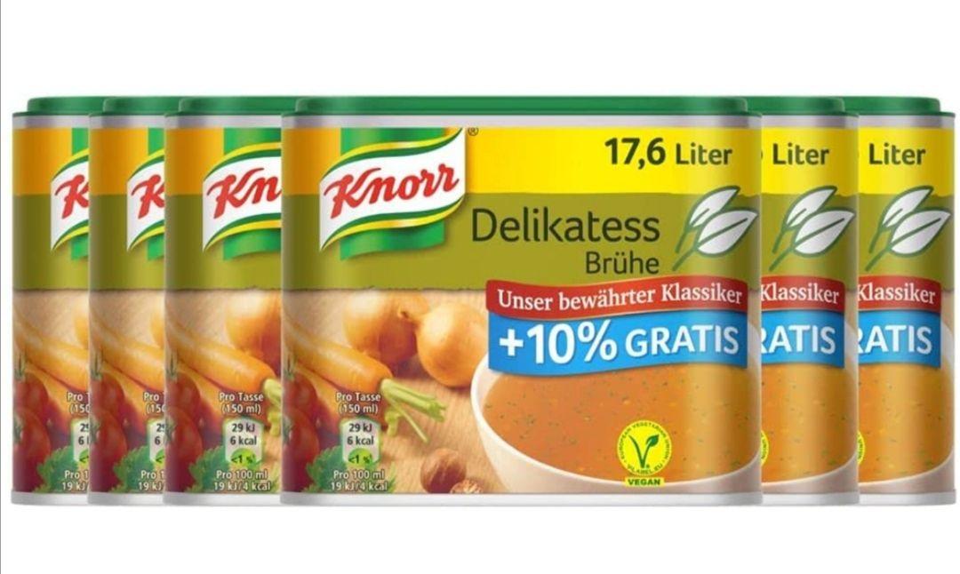[Amazon Prime Sparabo] Knorr Delikatess Brühe +10 Prozent Gratis Inhalt, 6er Pack (6 x 362 g)