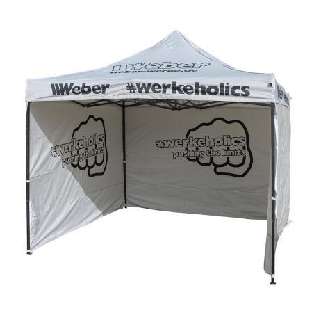Weber #Werkeholics Easy-Up Zelt Rennzelt 3 x 3 m inkl. 3 Seitenwände grau