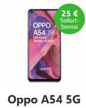 Oppo A54 5G 4/64GB für 69,99€ einmalig und 7,99€ monatlich im Telefonica WinSim Allnet/SMS Flat 1GB LTE + 25€ Verivox Bonus